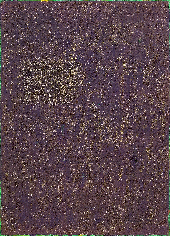 """""""망이 있는 풍경 2018-7"""" / 2018 / 79x110cm, Acrylic, Oil Pastel, Pencil, mash on Paper"""