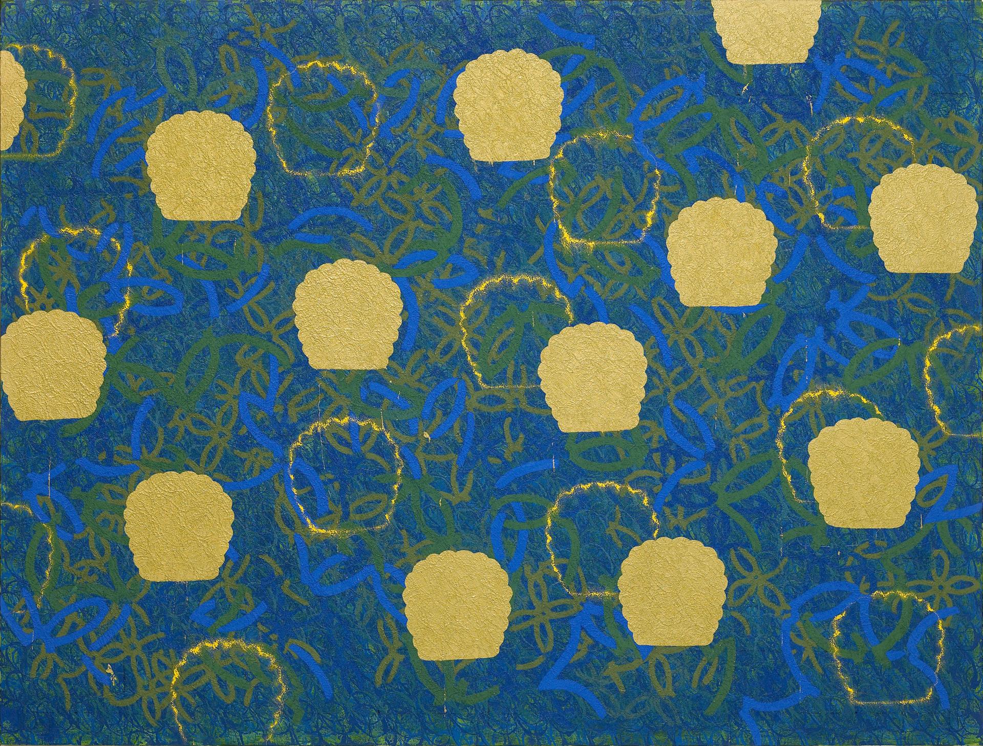"""""""종이꽃이 있는 풍경 Y"""" / 2011 / 200x200cm, Oil & Charcoal on Canvas"""