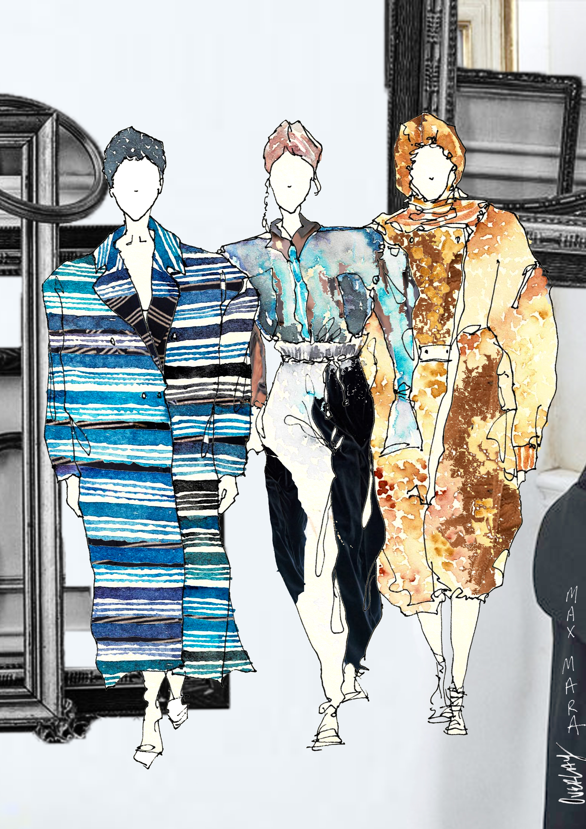 """""""UNTITLED"""" / 594mm x 841mm / ink . watercolor. digital collage /2020 runway collection revisited"""