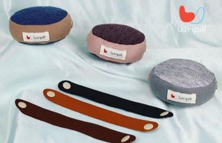 """wripill"" / 9x9x3cm / product design / fabric + elastic wrist band"