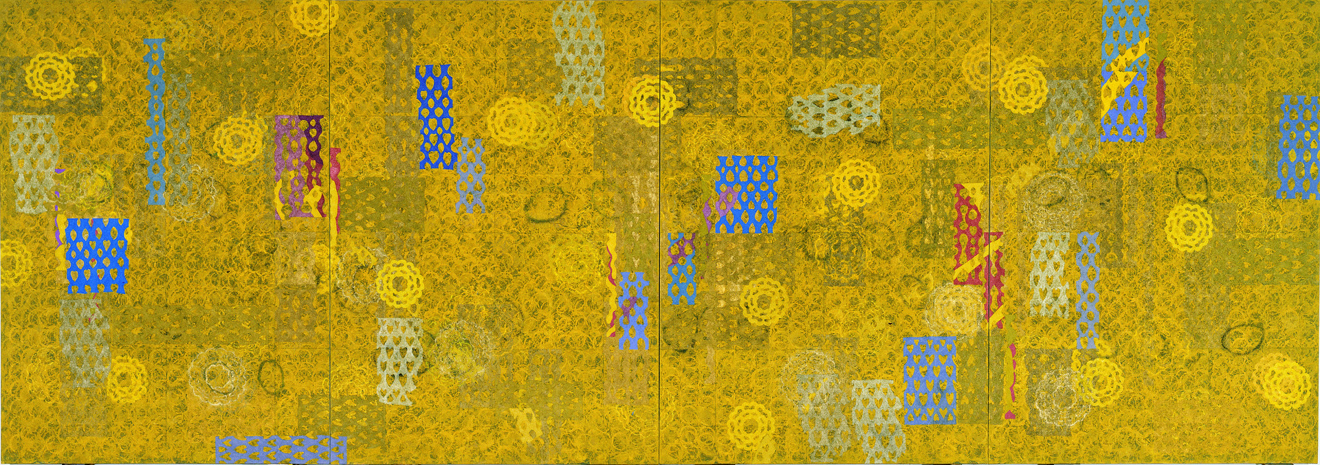 """""""모과와 종이꽃이 있는 풍경 I,II,III,IV"""" / 2004-5 / 648x227cm, Oil & Charcoal on Canvas"""