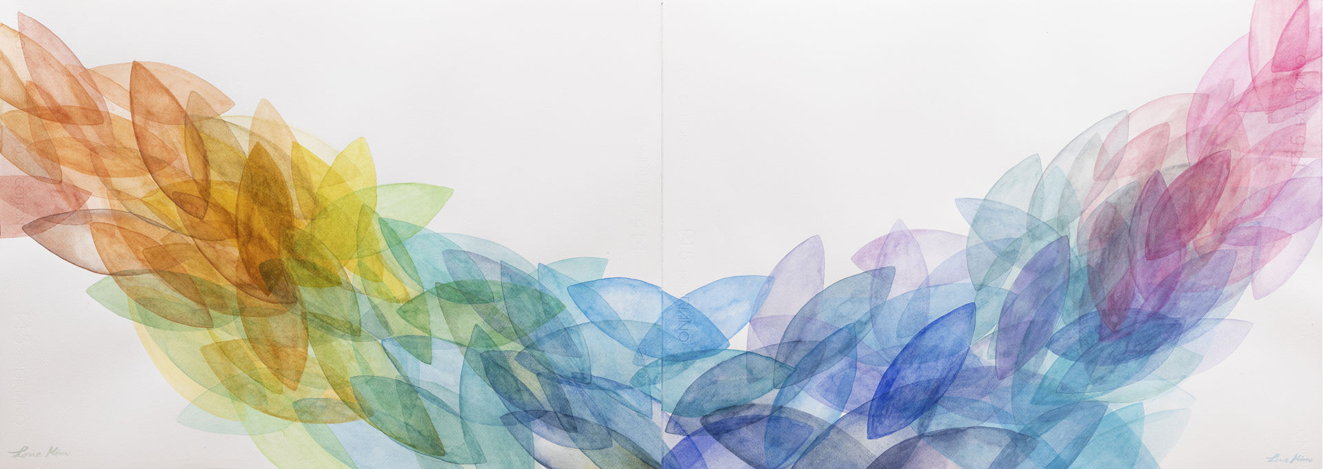 """""""Mind Nature-It flows like a river"""" / 50x140cm / Watercolor on paper / 2019"""