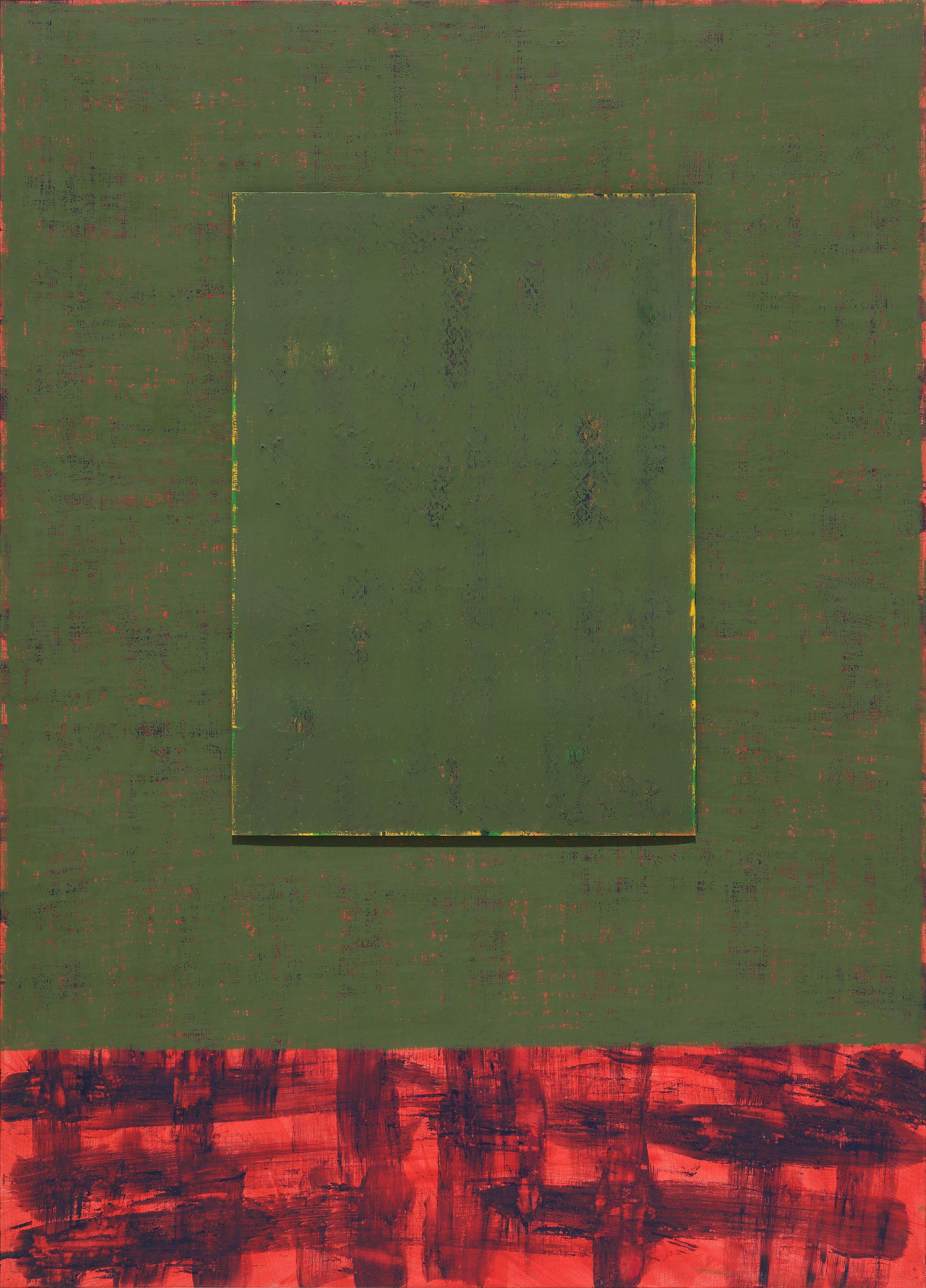 """""""녹색문이 있는 풍경"""" / 2019 / 79x110cm, Acrylic, Oil Pastel on Paper"""
