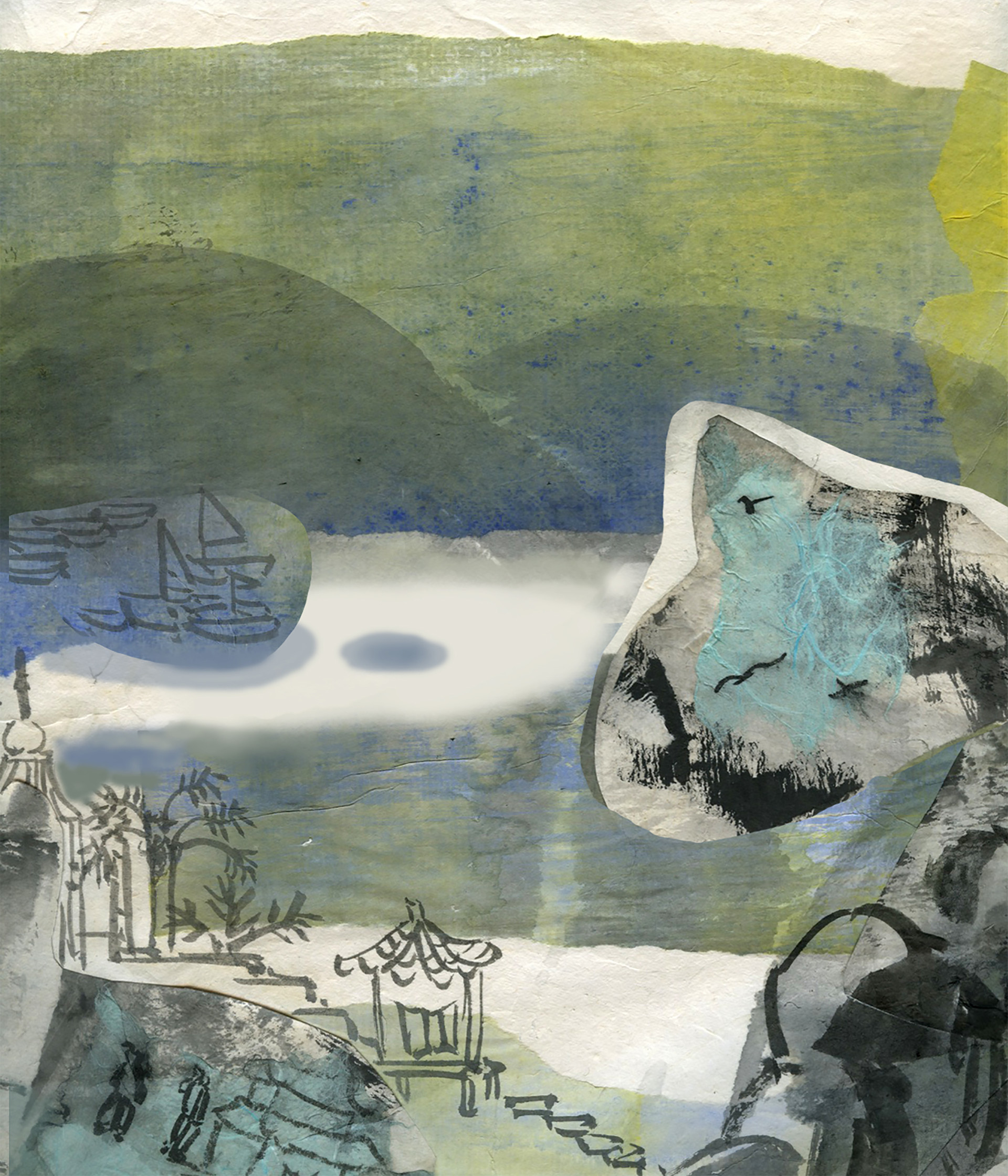 """""""Yellow and blue part2"""" / 2012 / Ink and paper on inkjet print"""