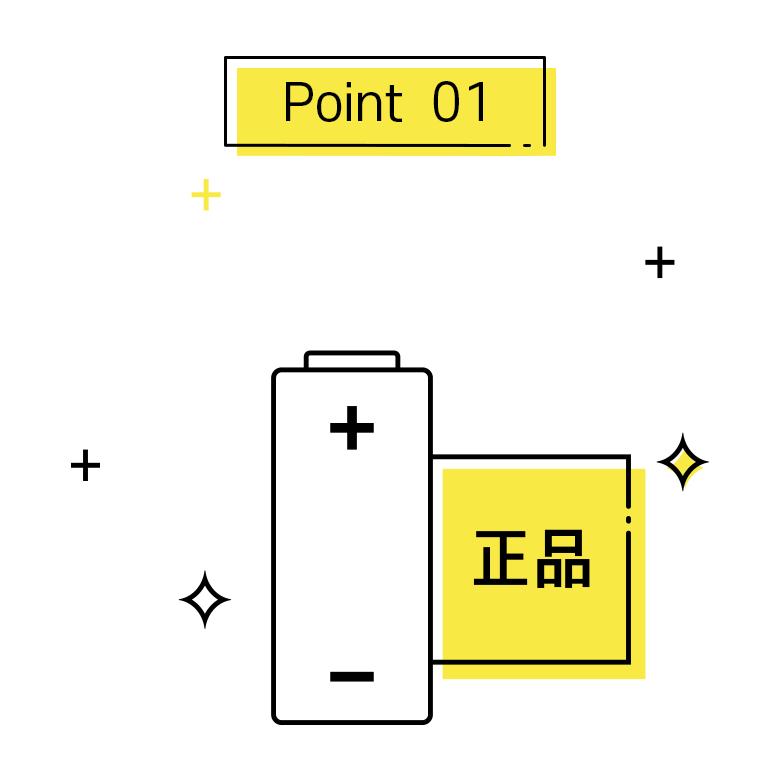 포인트1, 정품 국산 배터리 사용