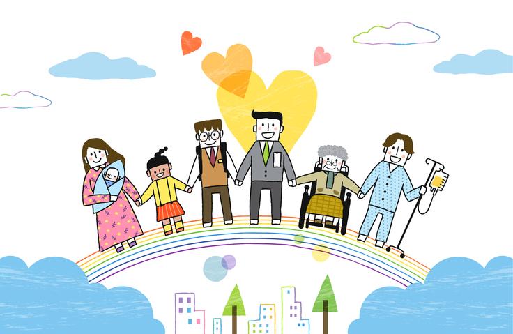 무지개 위에서 산모와아기, 여자어린이, 남학생,회사원, 휠체어탄 할머니, 환자가 손잡고 웃는 이미지