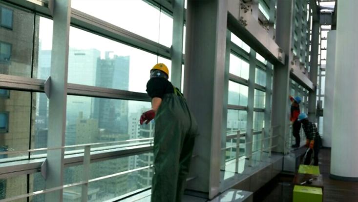 건물 옥상 내부 청소