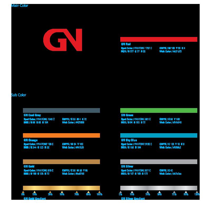 """<h1 style=""""font-size:20px;"""">전용 색상</h1><br>GN C.I의 색상은 주요색상과 보조색상으로 구분되어 있다. GN C.I는 각종 시각매체에 적용하여 GN의 이미지를 전달하는 기능을 하므로 일관된 색상 이미지를 전달하는 것이 중요하다. 색상의 효과적인 사용을 위해서는 세심한 주의가 필요하며 제작 시 의문사항이 있을 때에는 반드시 담당부서와 협의하여 제작하도록 한다."""