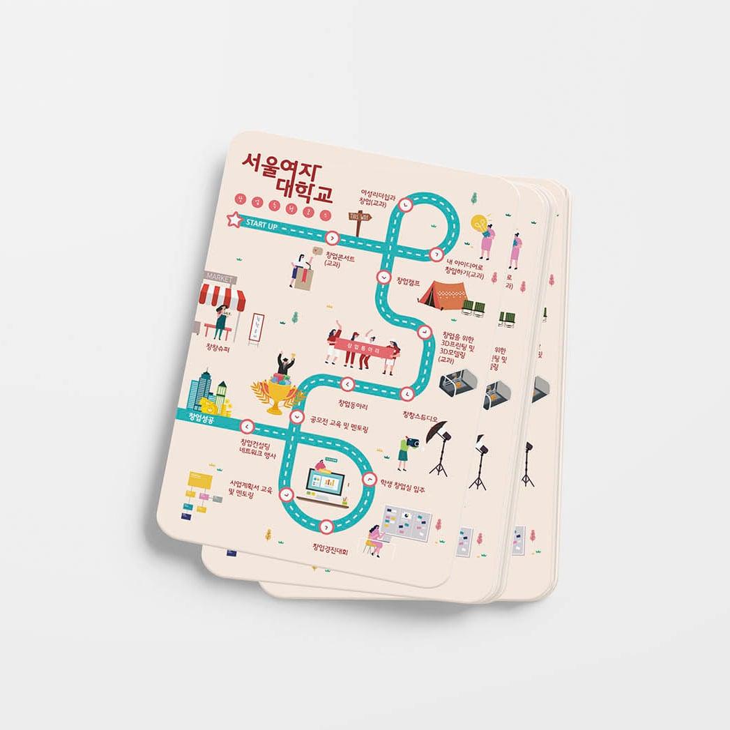 서울여자대학교 창업로드맵 안내 카드 디자인 시안 - 서울여자대학교