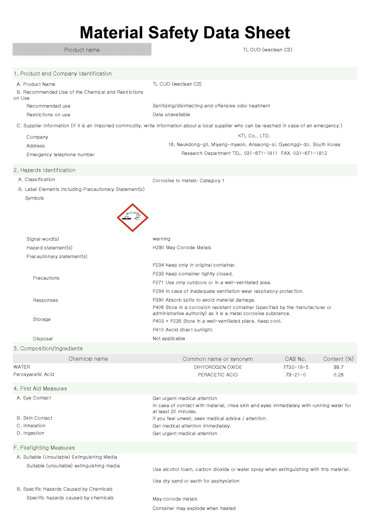 weclean c2 TL cuo MSDS - disinfectant