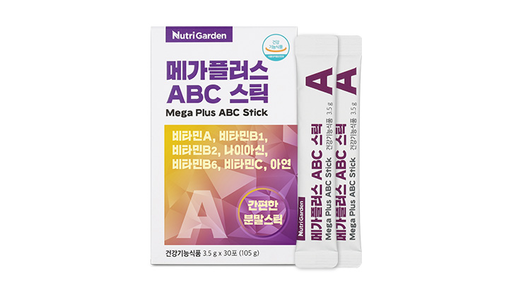 "<span style=""font-size:14px; color:red; font-weight:bold;"" >NEW </span>메가플러스 ABC 스틱<br><span style=""font-size:13px"">기초 간강의 에너지 포뮬러! <br> 7가지 복합 기능성</span>"