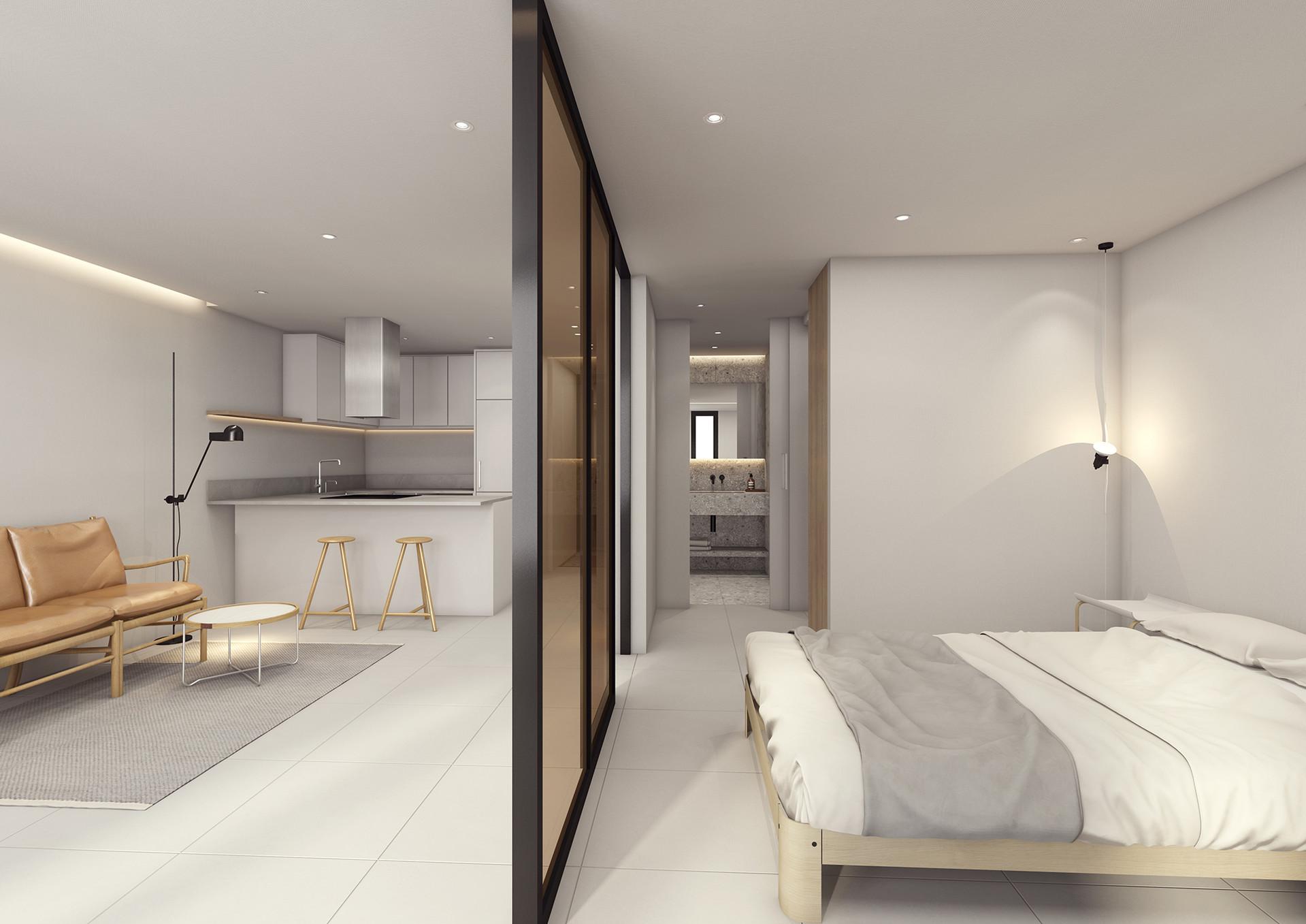 거실과 주방, 화장실, 침실을 연결하는 순환동선