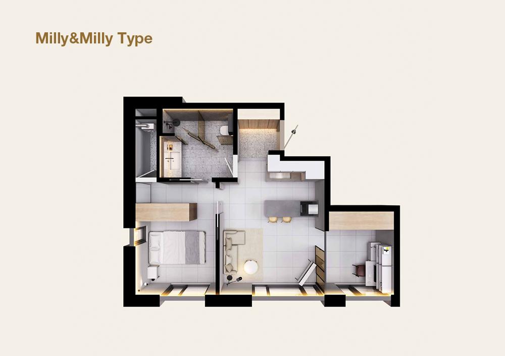 알파룸을 통해 다용도로 활용 가능한 Milly&Milly 타입