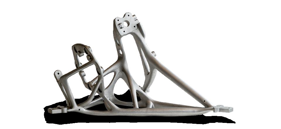 지오 통신 안테나 리플렉터를 장착용 브래킷. 위상적으로 최적화된 스트럿을 통해 무게와 비용을 절감할 수 있습니다.