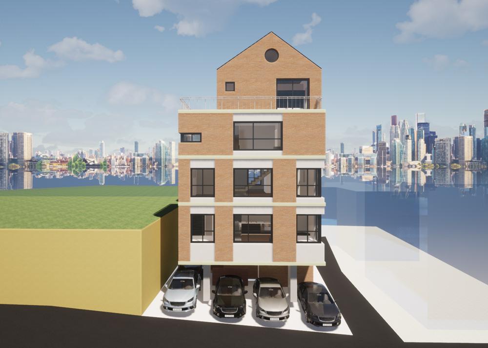 2층과 3층의 투룸세대는 방-거실-방의 구조를 가지는 3-bay 타입이다.
