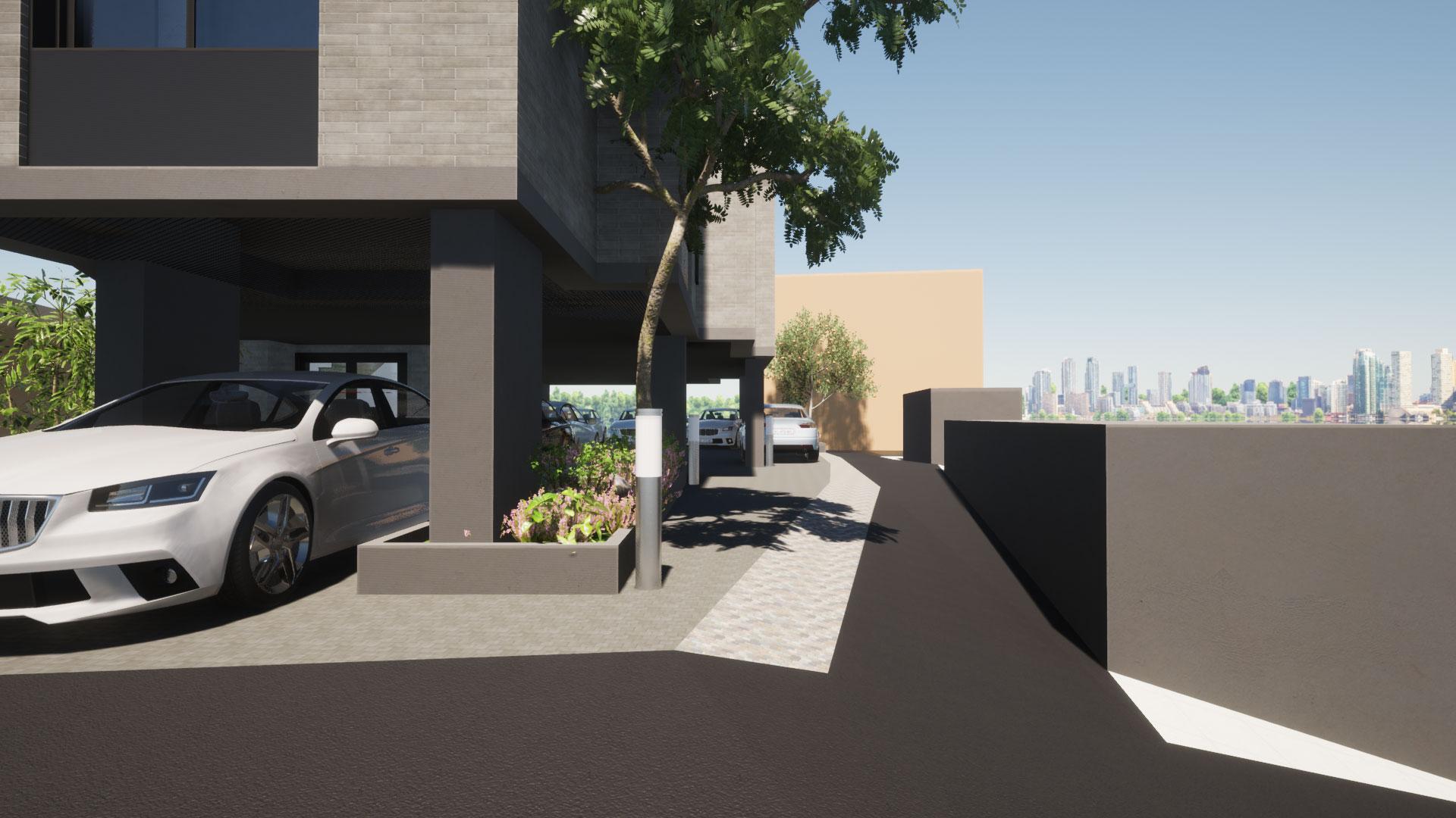 검은색 아스팔트와 우리땅 사이의 밝은 부분이 제척면적, 뒤로 보이는 베이지색 건물이 우리땅을 침범함