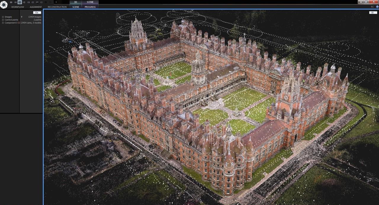 수천장의 드론촬영 사진과 카메라 사진으로 정합한 3D모델링 데이터