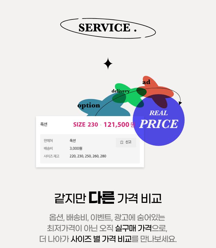 서비스 1. 같지만 다른 가격 비교 : 실구매가격 제공, 사이즈별 가격 비교 제공