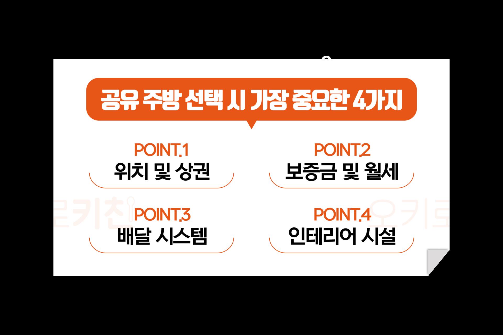 공유주방 및 서울공유주방을 선택할때 가장 중요한 점 네 가지를 설명해 드립니다. 1. 위치 및 상권, 2.보증금 및 월세, 3.배달시스템 4.인테리어시설(점주님 업무환경 최적화)