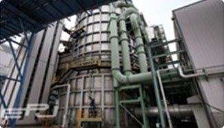 <b>탈황설비(석회석/석고 습식법)</b><br>배기가스중 황산화물(SOx)을 석회석 슬러리에 흡수 반응시켜 97.8% 이상 제거합니다.