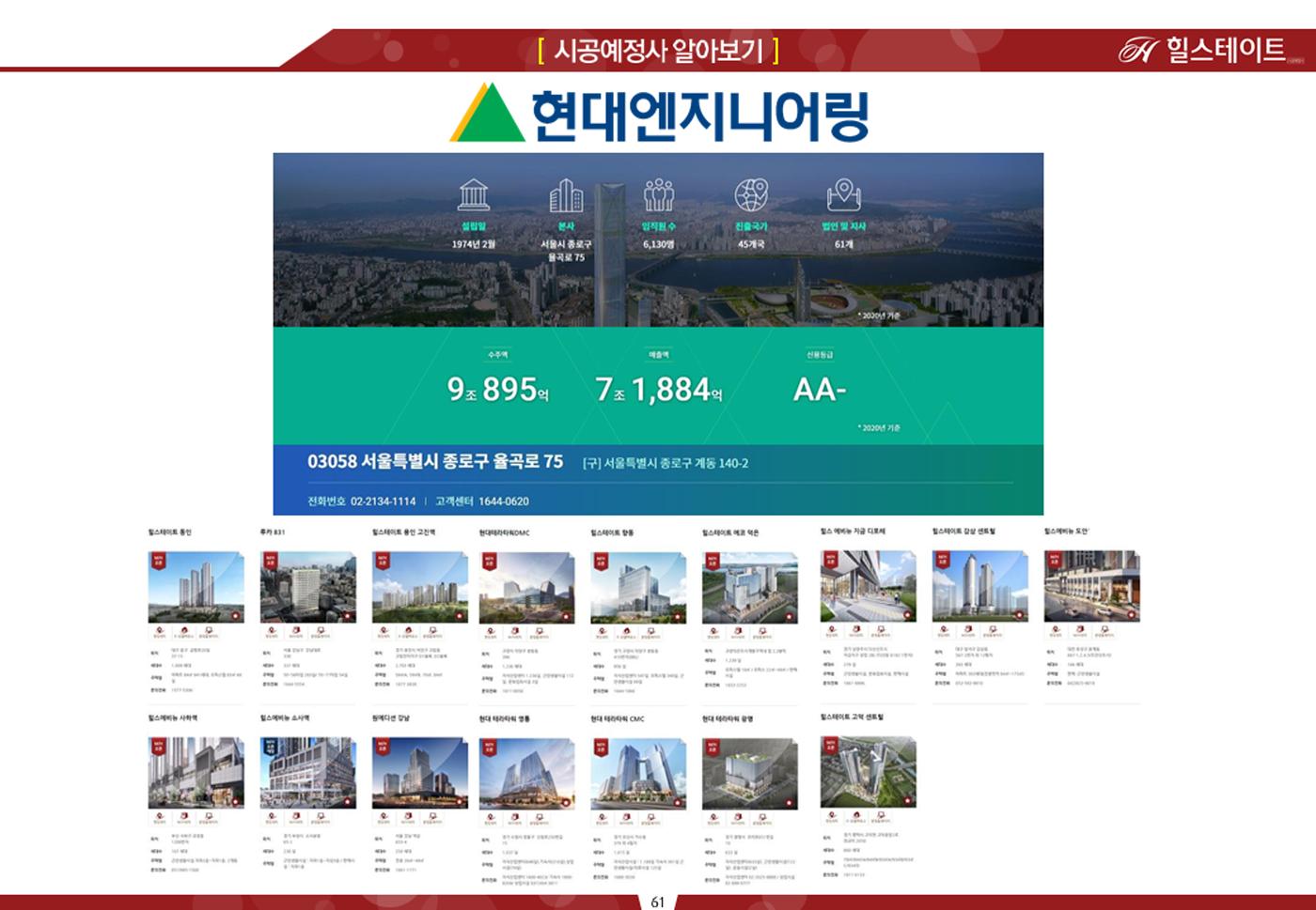 현대 엔지니어링  힐스테이트 시공사 소개