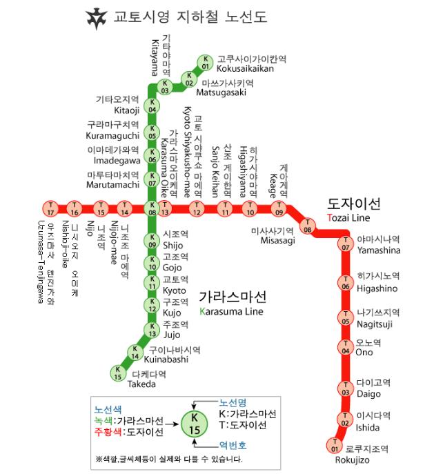 교토 시영지하철 노선도