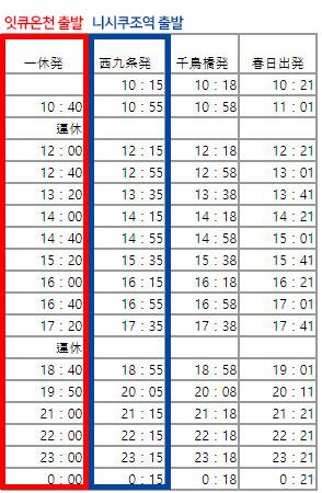 셔틀버스 시간표
