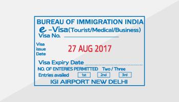 인도 e-visa 사증 예시
