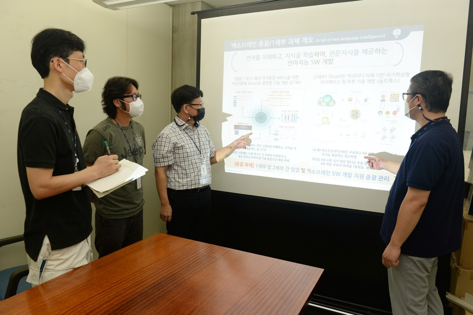 ETRI 연구진이 오피스문서에 활용할 수 있는 API 기술을 설명하고 있는 모습(왼쪽부터 김민호 책임연구원, 배용진 선임연구원, 임준호 책임연구원, 이형직 책임연구원)