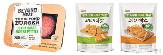 왼쪽부터 동원F&B '비욘드 미트', 롯데푸드 '엔네이처 제로미트' 너겟과 까스