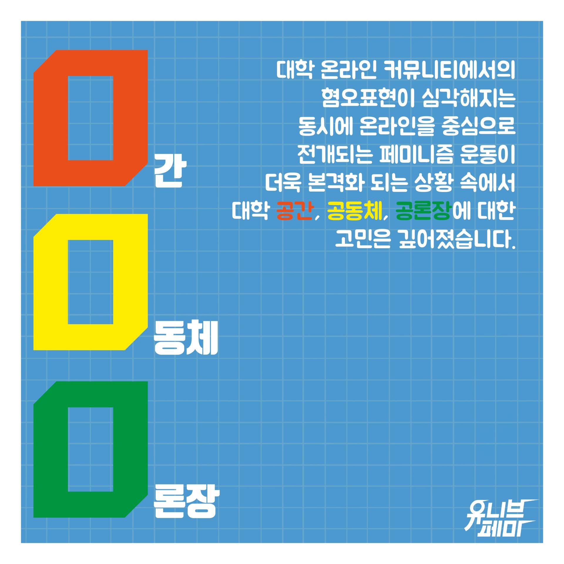 하늘색 배경에 회색 격자 무늬가 들어가 있다. 왼쪽 상단부터 하단까지 '0간, 0동체, 0론장'이라 쓰여있다. '0간'의 0은 주황색, '0동체'의 0은 노란색, '0론장'의 0은 초록색으로 강조색이 들어가있다. 오른쪽 상단에 '대학 온라인 커뮤니티에서의 혐오표현이 심각해지는 동시에 온라인을 중심으로 전개되는 페미니즘 운동이 더욱 본격화되는 상황 속에서 대학 공간, 공동체, 공론장에 대한 고민은 깊어졌습니다'라고 적혀있다. 공간, 공동체, 공론장은 각각 주황색, 노란색, 초록색으로 강조가 되어 있다. 오른쪽 하단에는 흰색의 유니브페미 로고가 있다.