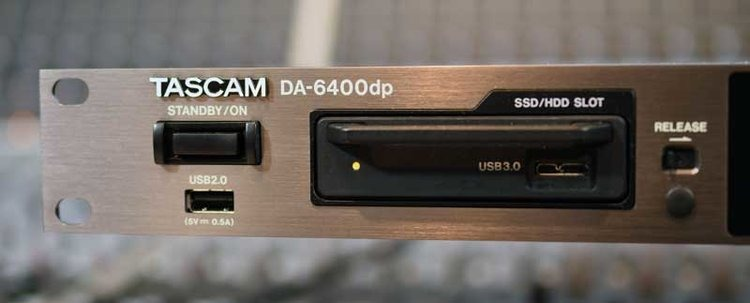 The Tascam DA-6400 records to an internally mounted SSD which can be removed and connected to your host computer for data transfer.