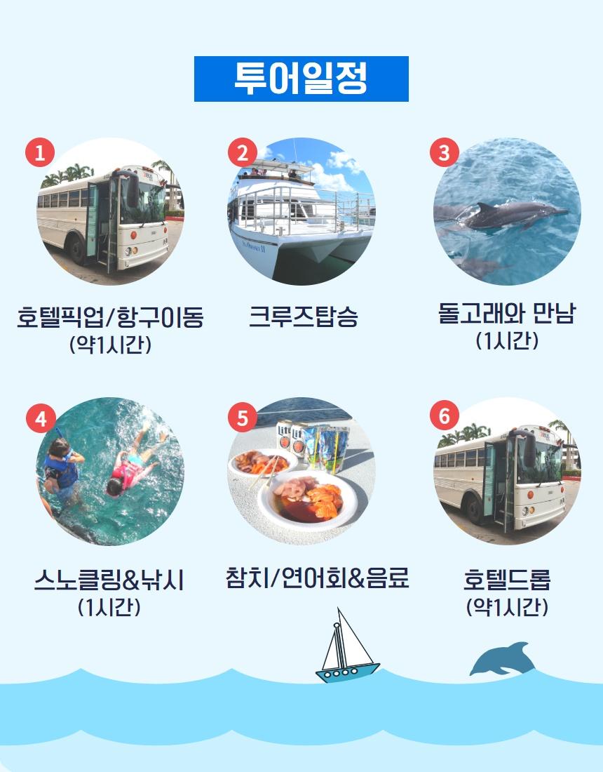 괌 돌핀 크루즈 투어 일정은: 호텔픽업/항구이동, 크루즈탑승, 폴라로이드사진, 돌고래와 만남 , 스노클링&낚시 , 참치회&음료/과자, 호텔드롭.