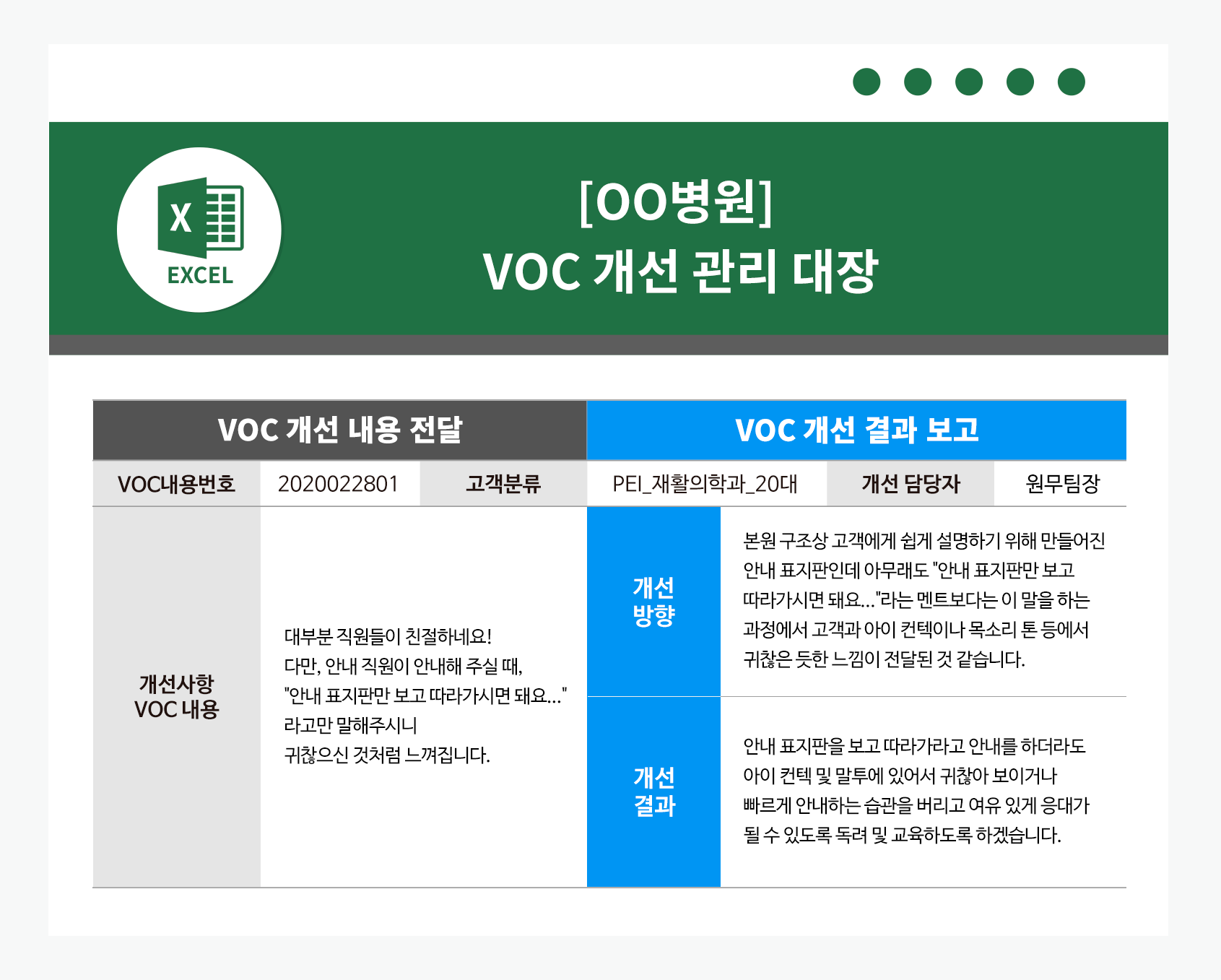 고객의 소리(VOC) 개선 관리 대장 예시