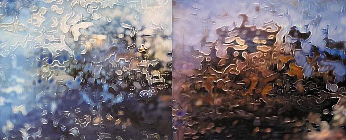 국내 기술진이 개발한 AI 화가가 독도 사진 2000여장을 학습해 독도의 여름(좌)과 가을(우) 풍경을 그려냈다.