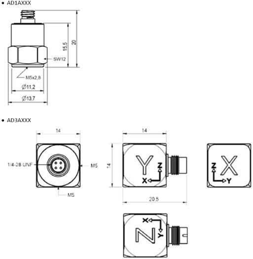 imc IEPE 가속도계 센서 dimensions