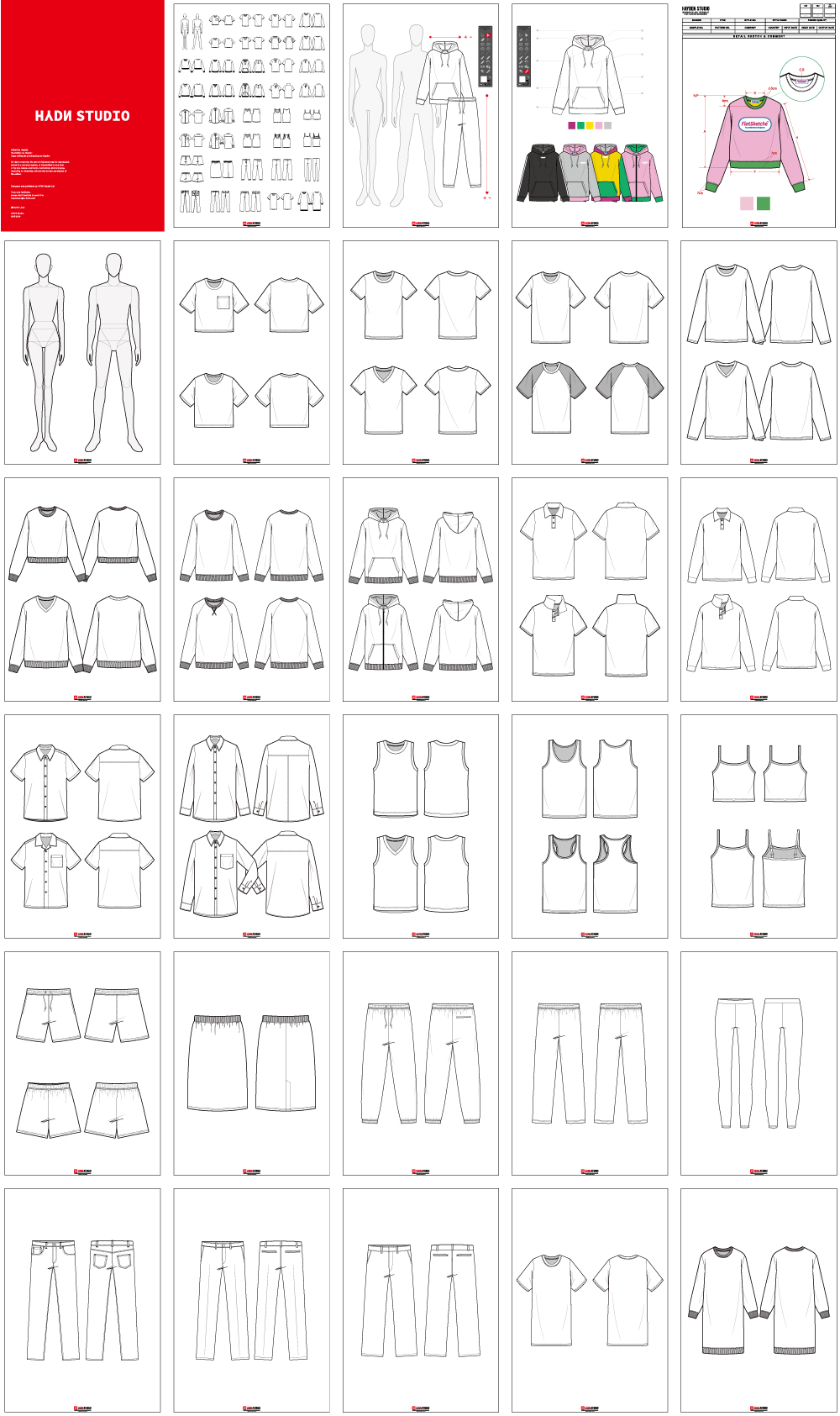 Vector Fashion Flats Design Set Fashion Template Fashion Flats Fashion Illustration Fashion Template Hydnstudio Fashion Design