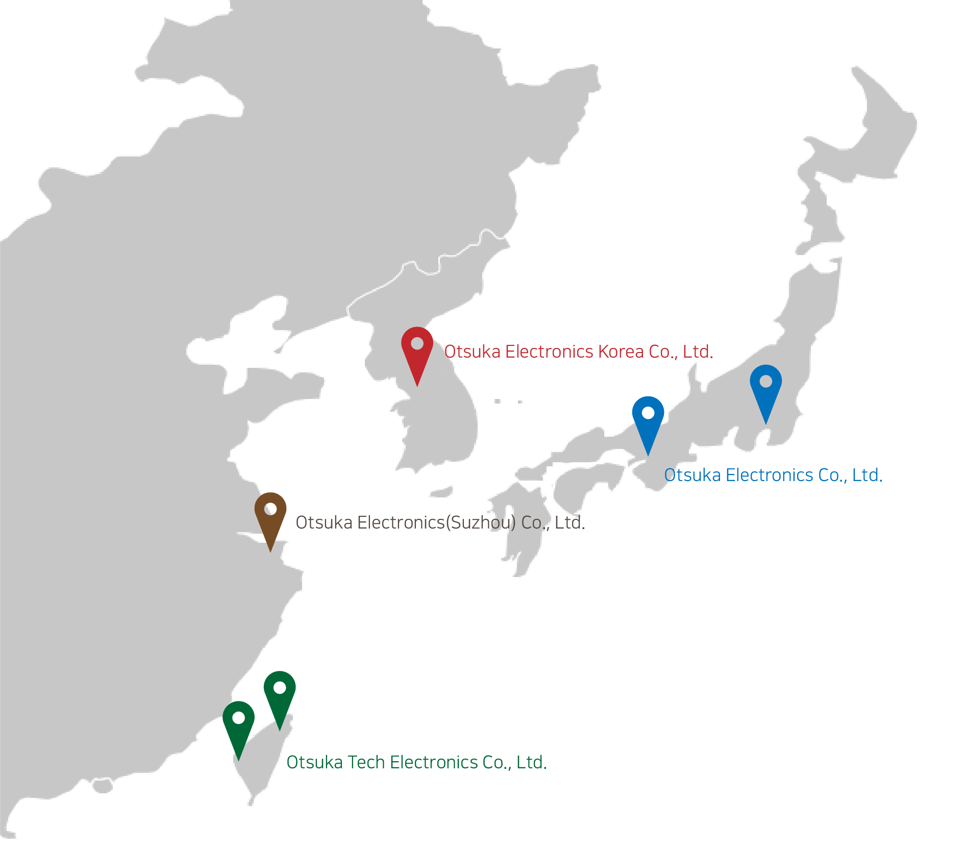 Map of Otsuka Electronics Headquarter and branches