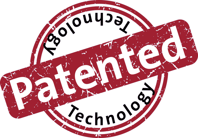 Stamp labeled patented technology