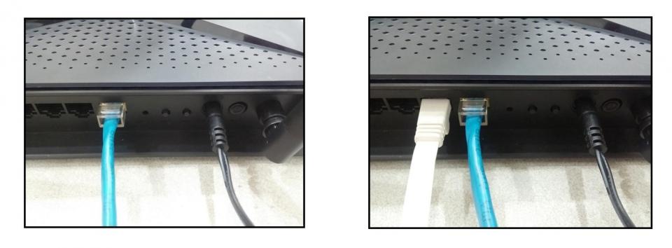 사용하는 인터넷 회선을 DIR-882 뒷면의 인터넷 포트에 연결한다. 이후 동봉된 랜케이블이나 별도의 랜케이블로 PC와 DIR-882를 연결한다. 이때 포트는 1~3번에 연결하자. 4번 포트는 IPTV용으로 미리 설정되어 있기 때문이다.