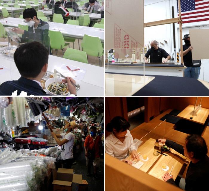 코로나19 유행으로 전 세계적으로 플라스틱 사용이 늘고 있다. (왼쪽부터 시계방향으로) 서울의 고교 급식실에서 학생들이 투명 플라스틱 가림막을 앞에 두고 점심을 먹는 모습, 미국 캘리포니아의 한 기업에서 투명 아크릴 가림막을 설치하는 모습, 일본 도쿄의 한 주점에 설치된 투명 플라스틱 가림막, 일회용 플라스틱 컵이 다량 진열된 태국의 한 상점.  연합·AFP·로이터연합뉴스