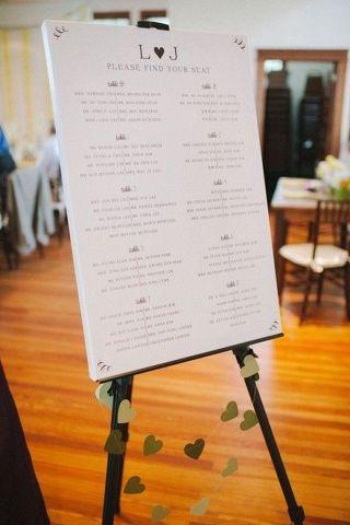행사용 폼보드에 좌석배치도가 인쇄되어 있고, 이젤에 가지런히 예쁘게 놓여 있다.