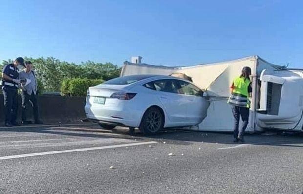 도로에 쓰러진 하얀 트럭을 발견하지 못하고 충돌한 테슬라 모델3. 사진=트위터