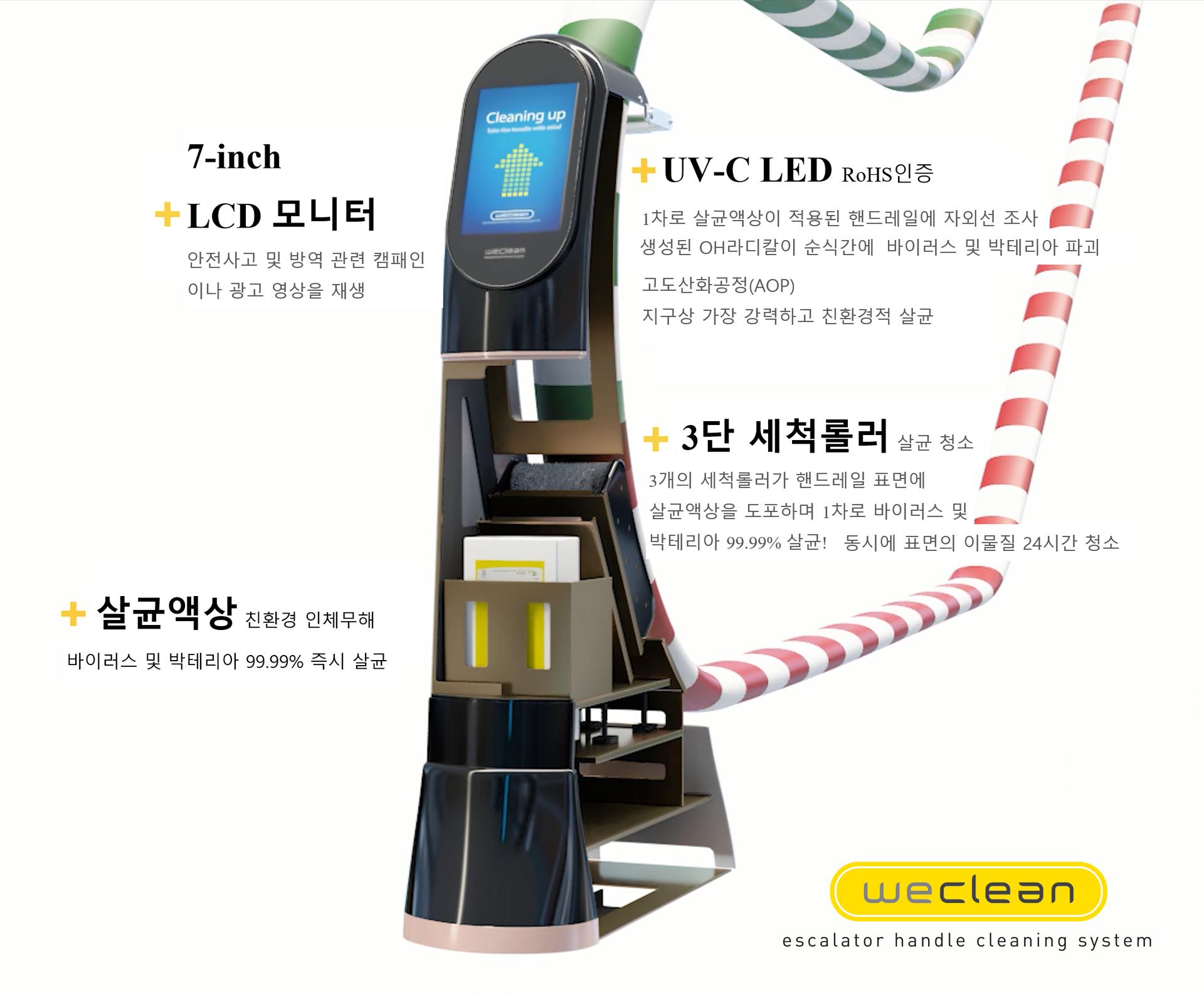 에스컬레이터 손잡이(핸드레일) 전용 살균 소독 청소기, 위클린의 특징