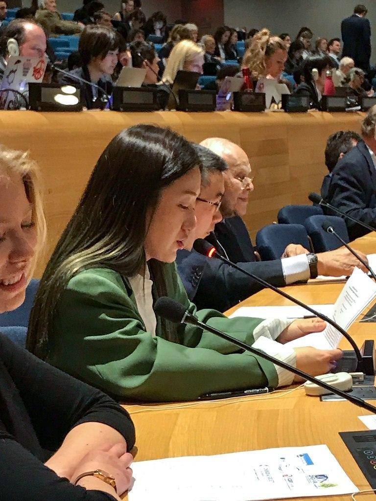 2019년 핵확산금지조약 회의에 참가해서 발언 중인 황수영 활동가. 사진: 참여연대