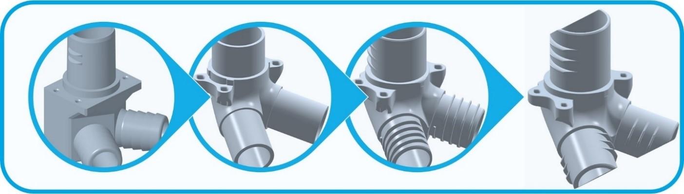 먼지 제거 채널(Dust extraction channel)의 AM 설계 진화 과정, 가장 왼쪽은 기존 부품