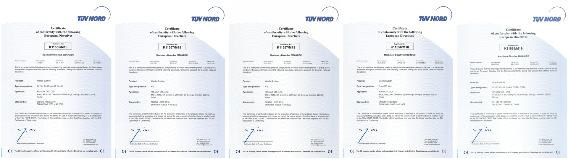 Komax Certificates for Dental Suction Systems