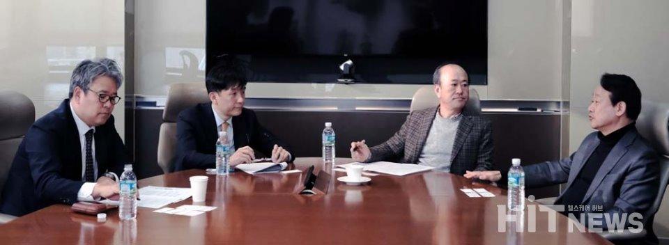 (왼쪽부터) 이한웅, 오동욱 대표, 이재현 교수, 이병건 대표. *사진=김현철 기자.