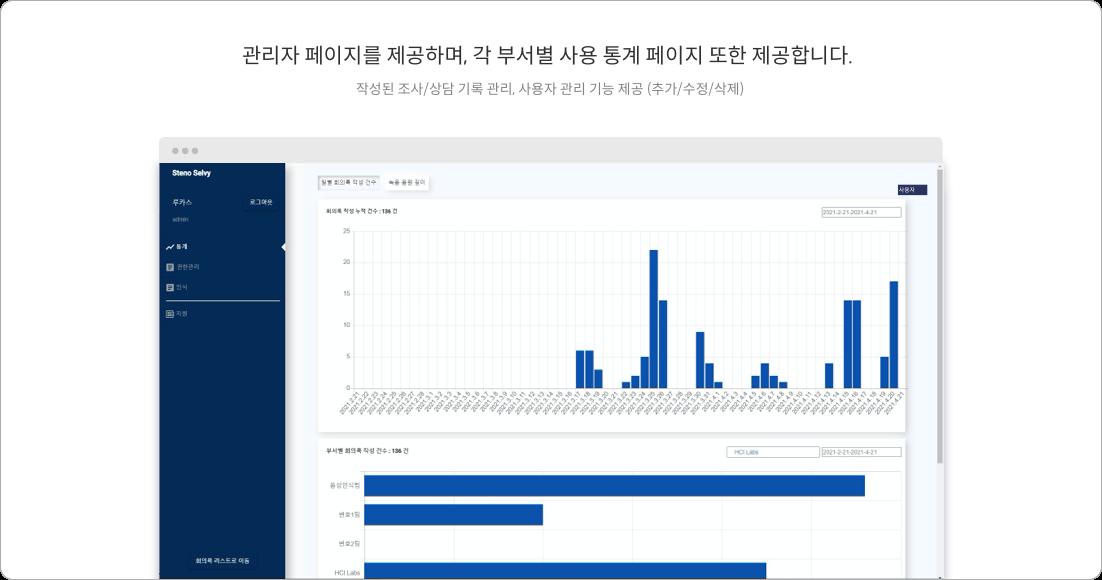 관리자 페이지를 제공하며, 각 부서별 사용 통계 페이지 또한 제공합니다.