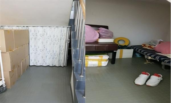 수술실 계단 옆 공간에 누워있을 수밖에 없는 청소노동자들